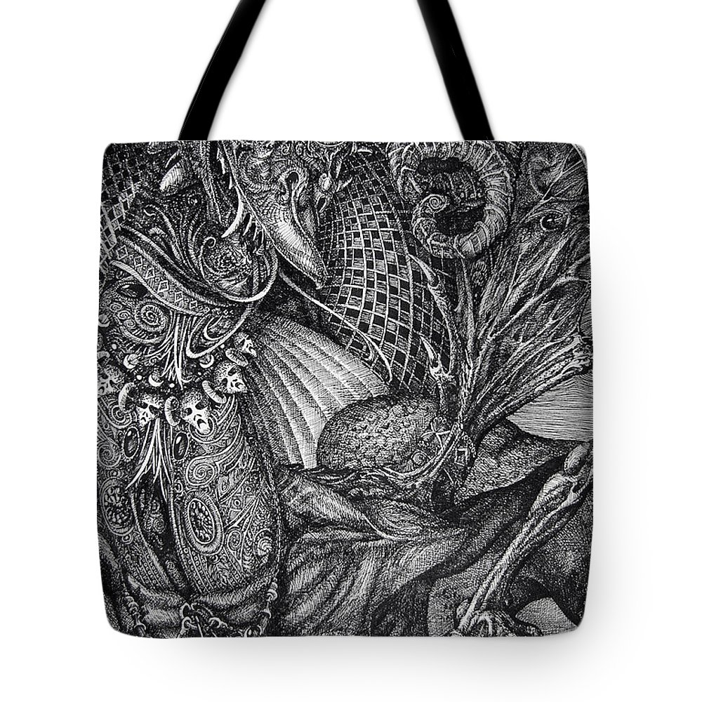 Surrealism Tote Bag featuring the drawing Jabberwocky by Otto Rapp