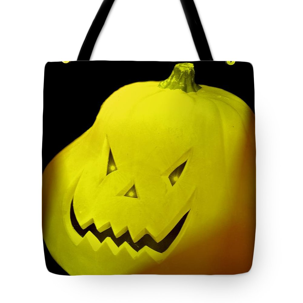 Jack-o-lantern Tote Bag featuring the digital art Jack-o-lantern by Maria Urso