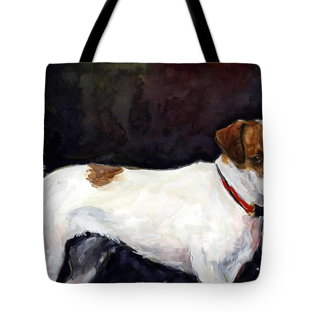 Jack Russell Terriers Tote Bag featuring the painting Jack Trio by Molly Poole