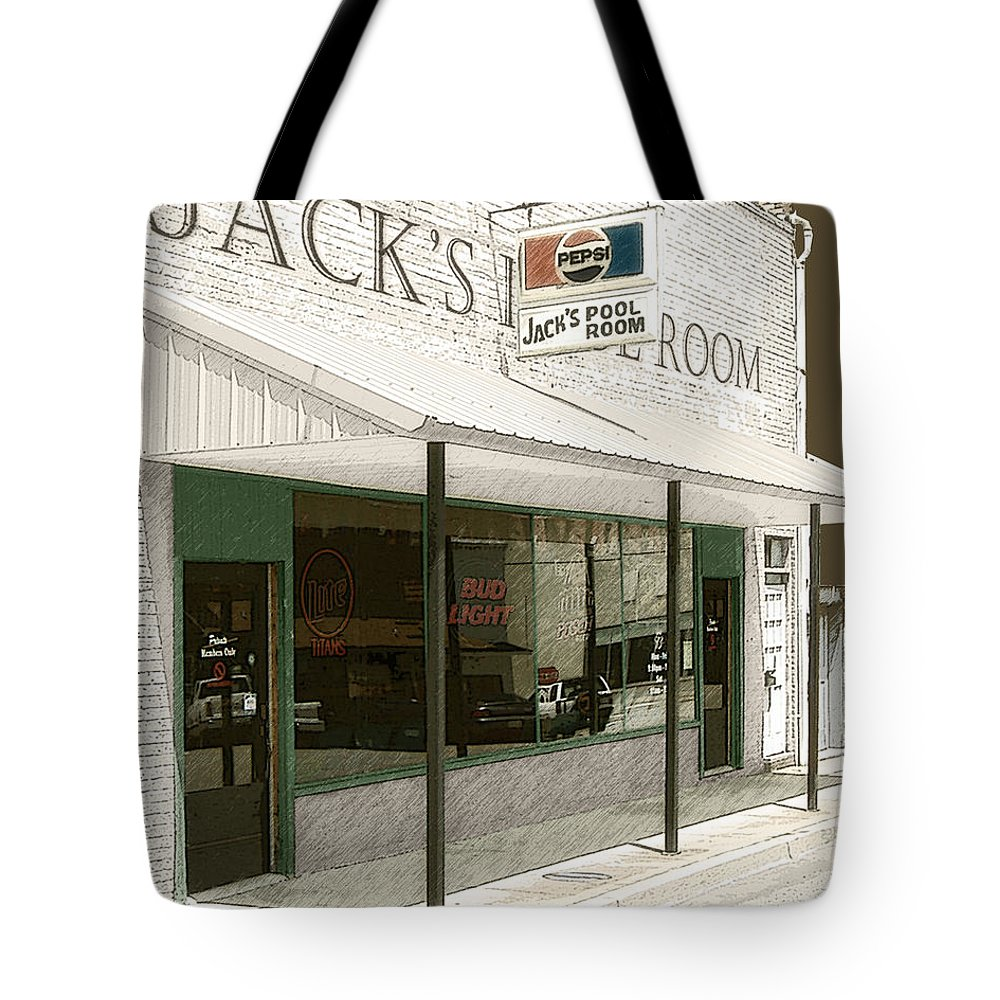 Jacks Pool Room Tote Bag featuring the photograph Jack's Pool Room by Lee Owenby