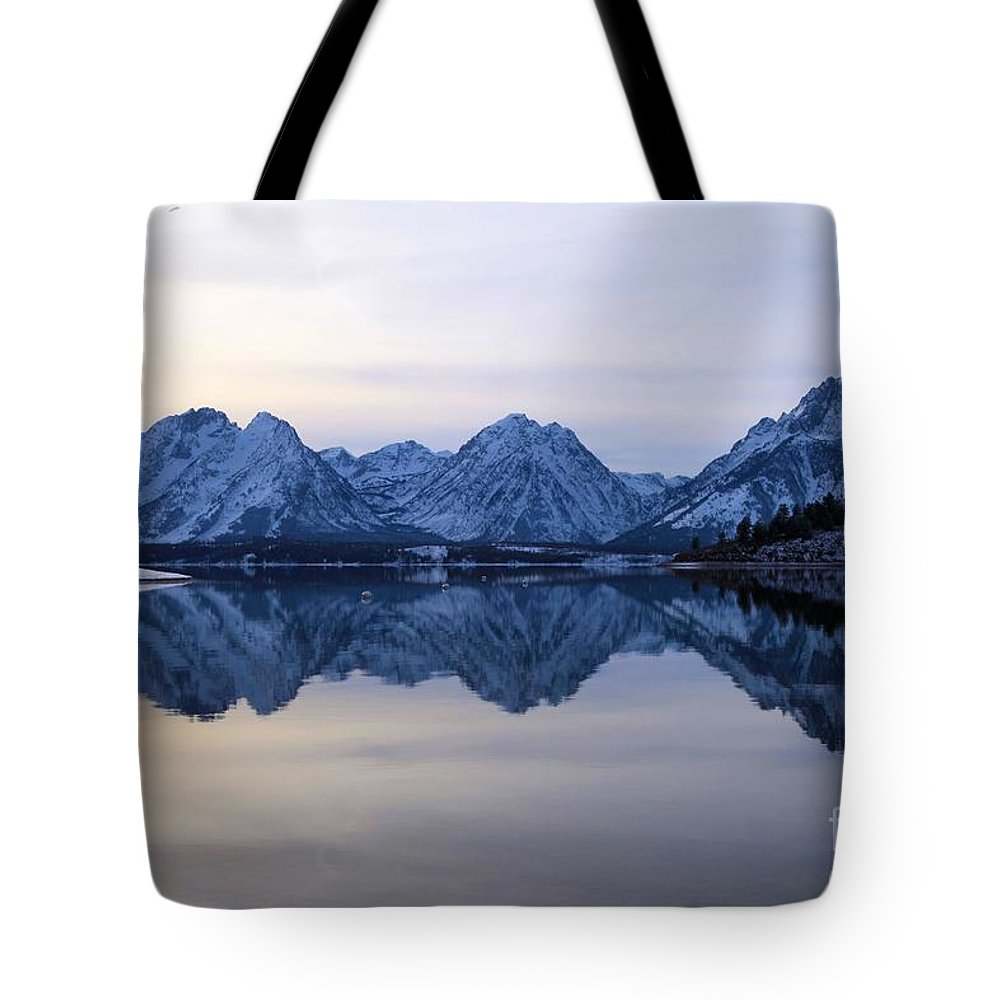 Grand Teton Tote Bag featuring the photograph Jackson Lake Reflections by Adam Jewell
