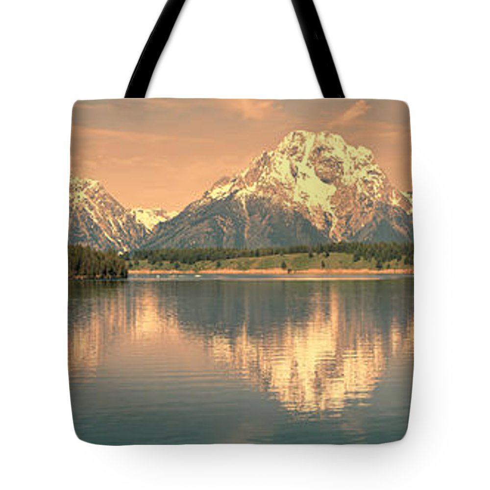 Panorama Tote Bag featuring the photograph Jackson Lake Sunrise - Grand Teton by Sandra Bronstein