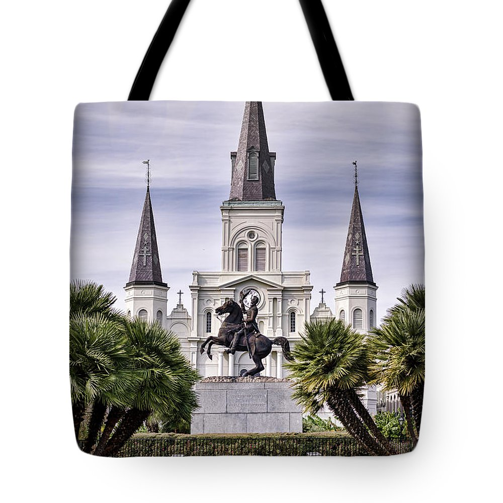 Saint Louis Cathedral Tote Bag featuring the photograph Jackson Square by Heather Applegate