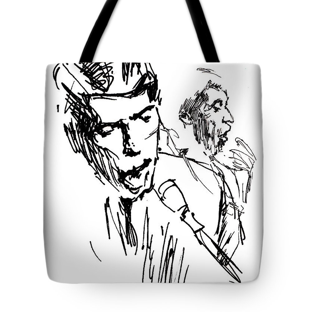 Portraits Tote Bag featuring the drawing Jacques Brel by Miki de Goodaboom