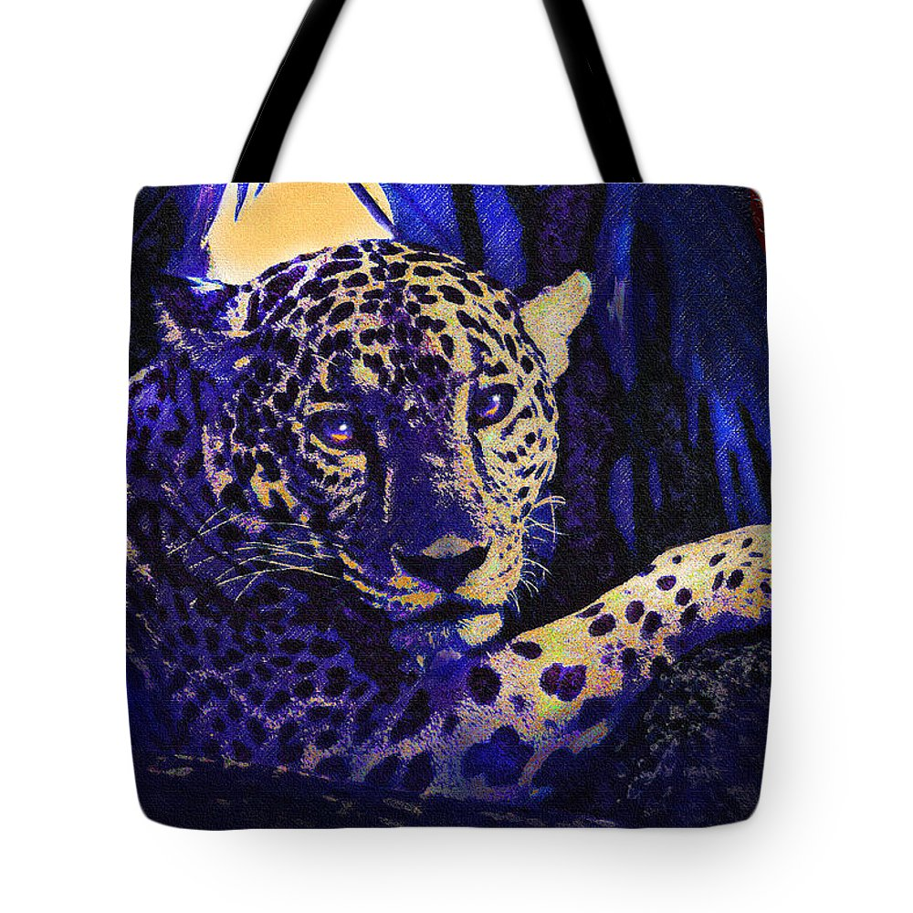 Jaguar Tote Bag featuring the digital art Jaguar- The Spirit Of Belize by Jane Schnetlage