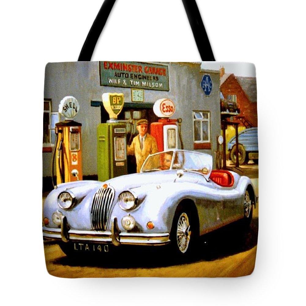 Jaguar Tote Bag featuring the painting Jaguar Xk 140 by Mike Jeffries