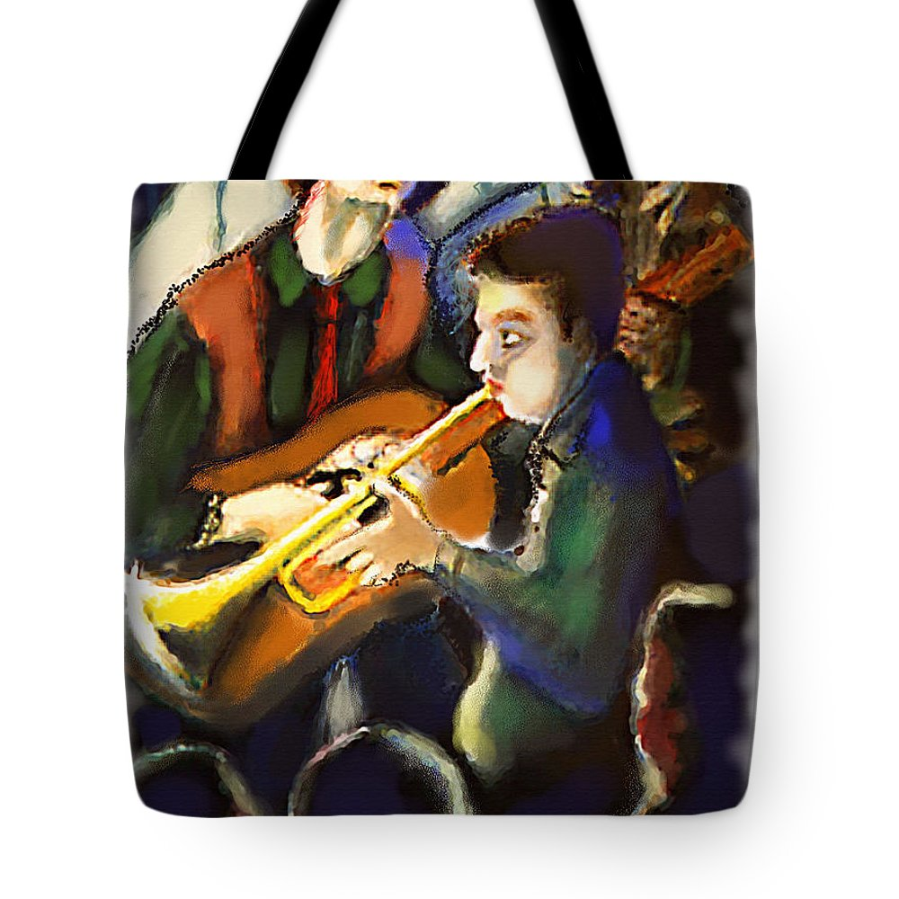 Jazz Art Paintings Tote Bag featuring the digital art Jam Session by Ted Azriel