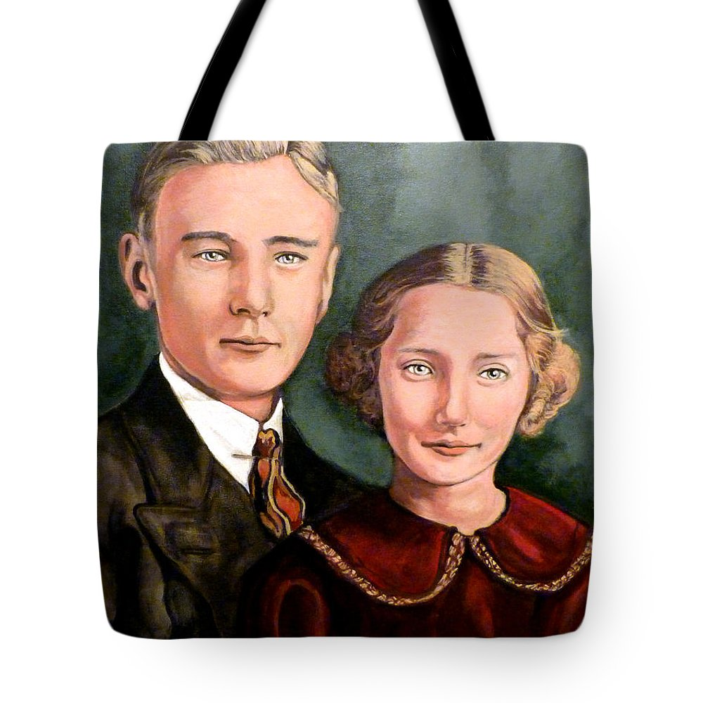 James Evan Roderick Tote Bag featuring the painting James And Ina K by Tom Roderick