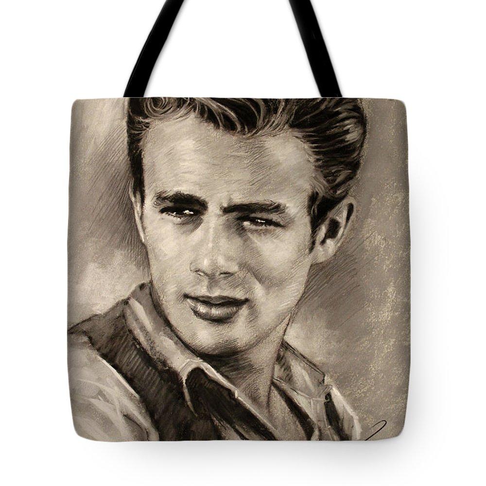 James Dean Tote Bag featuring the drawing James Dean by Viola El