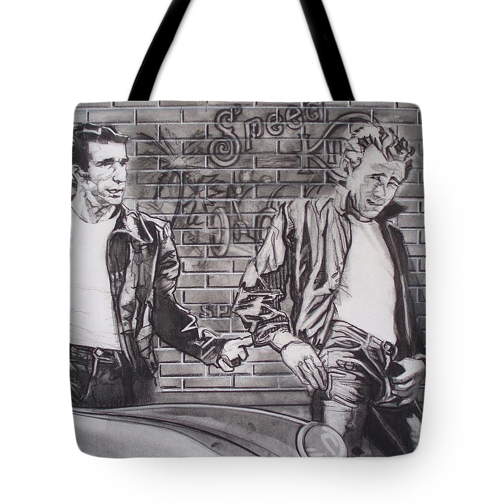 Americana Tote Bag featuring the drawing James Dean Meets The Fonz by Sean Connolly