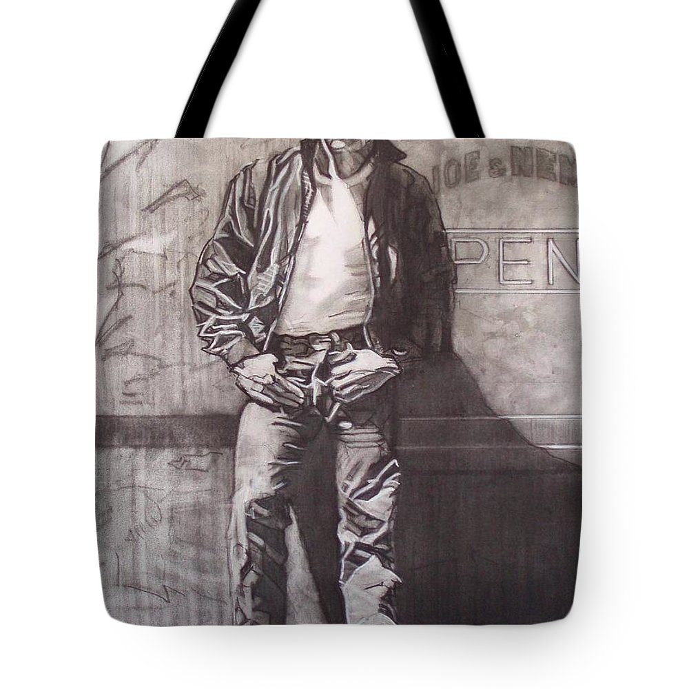 Charcoal; Icon;americana;cool;window;sidewalk;street;rock And Roll;jeans;t-shirt;diner;movie Star Tote Bag featuring the drawing James Dean by Sean Connolly