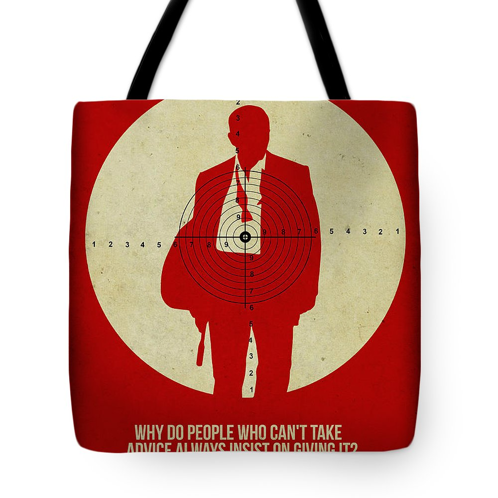 Tote Bag featuring the digital art James Poster Red by Naxart Studio