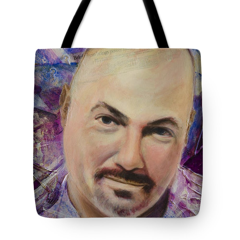 Abstract Tote Bag featuring the painting Jamez Abstract by Ron Richard Baviello