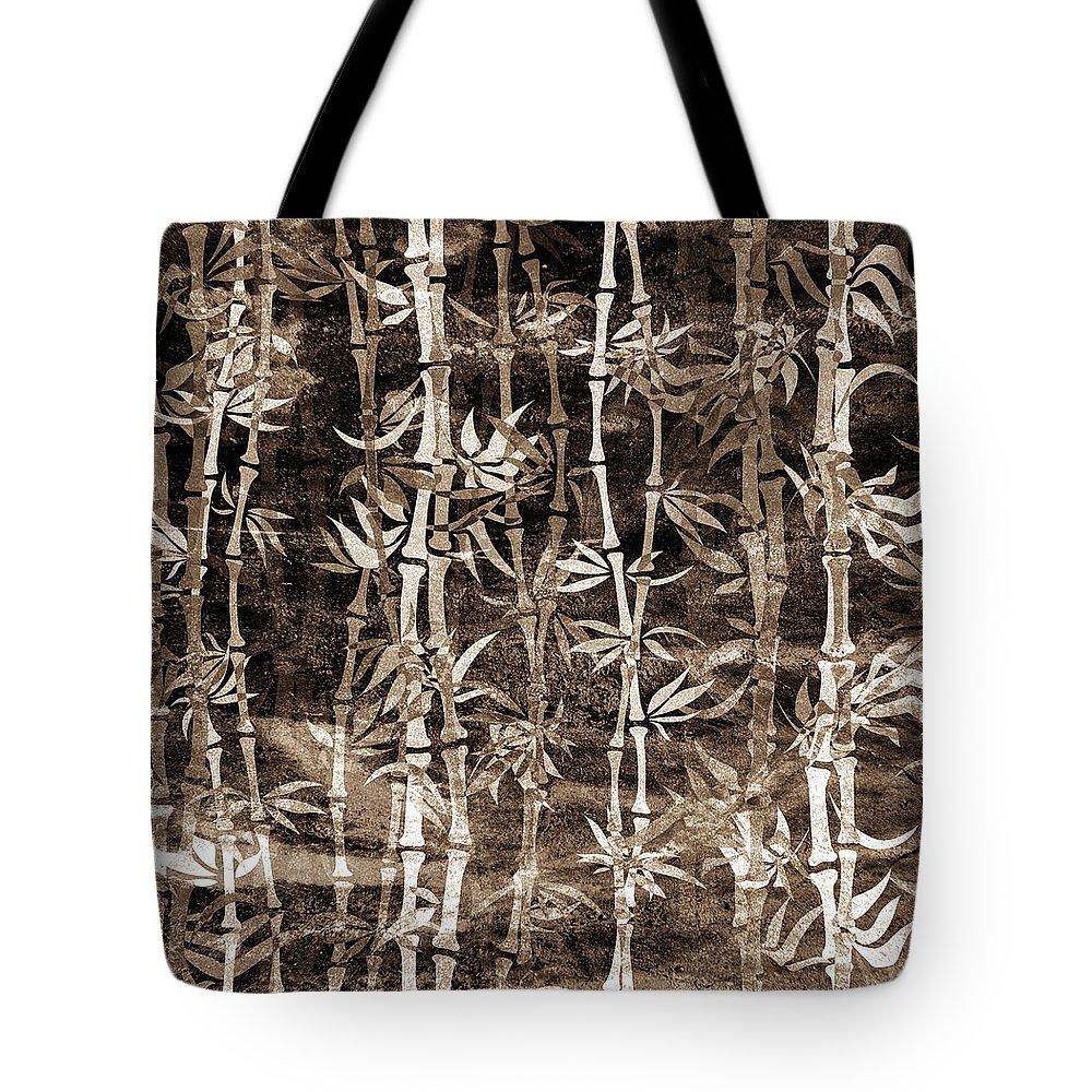 Bamboo Tote Bag featuring the mixed media Japanese Bamboo Sepia Grunge by Georgiana Romanovna