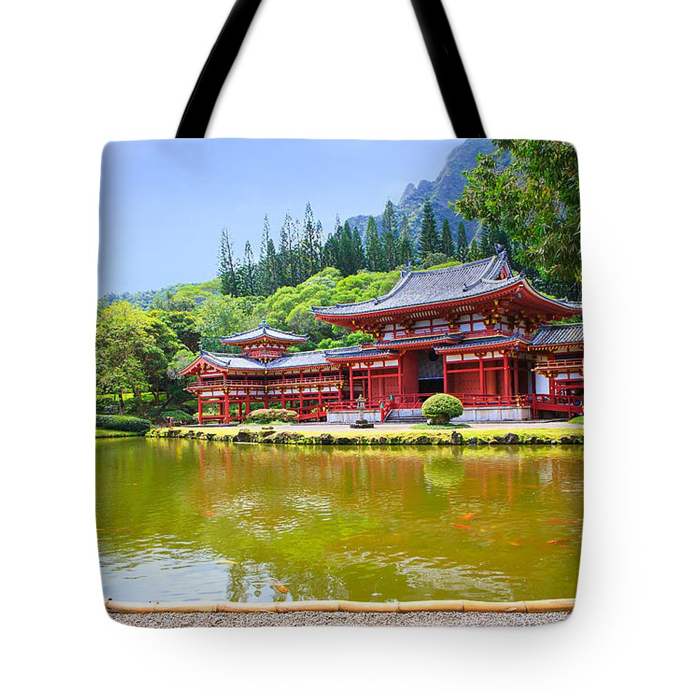 Ancient Tote Bag featuring the photograph Japanese Byodoin Temple by Ami Parikh