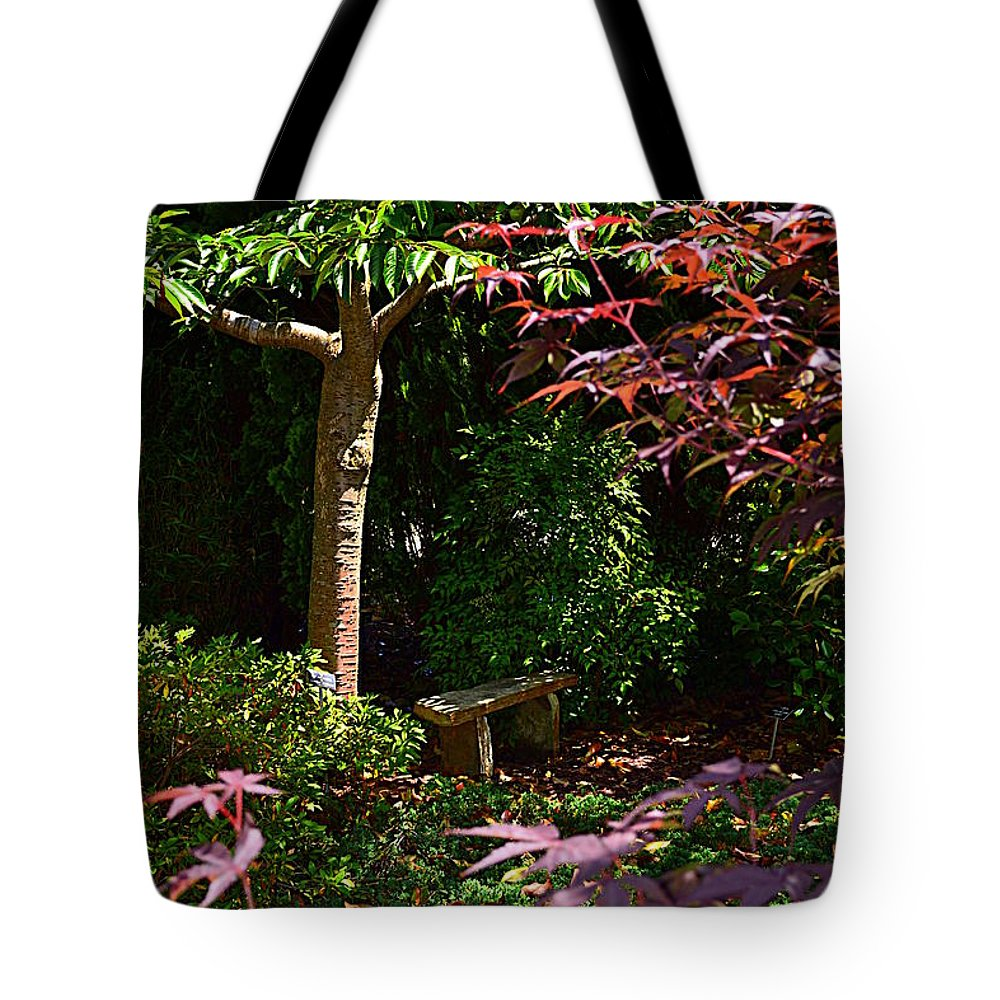 Bench Tote Bag featuring the photograph Japanese Garden Bench by Amy Lucid