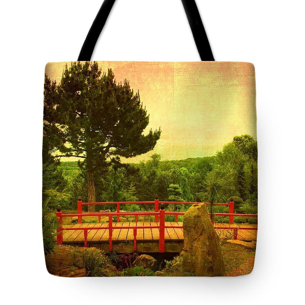 Wooden Bridge Tote Bag featuring the photograph Japanese Garden by Gabi Siebenhuehner