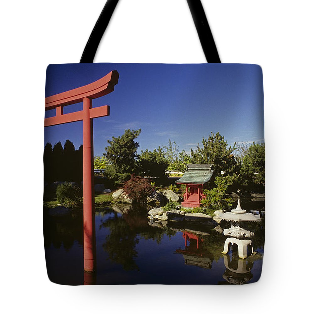 Stone Lantern Tote Bag featuring the photograph Japanese Garden by Jim Corwin