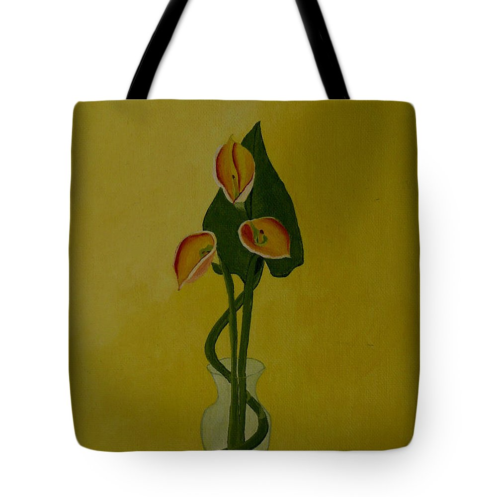 Japan Tote Bag featuring the painting Japanese Ikebana Arrangement by Anthony Dunphy
