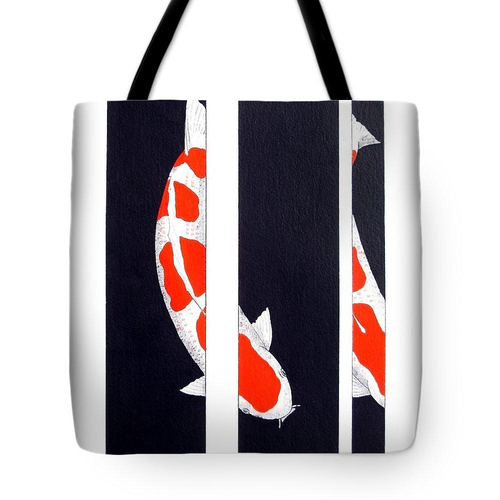 Sanke .asagi. Ogon .utsuri. Hikari .gin Rin .sanke. Doitsu. Bekko .shiro .kin. Gin Rin. Sumi .matsuba.gordon Lavender. Japanese. Koi Kichi. Tattoo. Dog. Chinese. Cool. Unusual. Asian .japan. Fish. Kamihata Tote Bag featuring the painting Japanese Koi Kohaku Division Painting by Gordon Lavender
