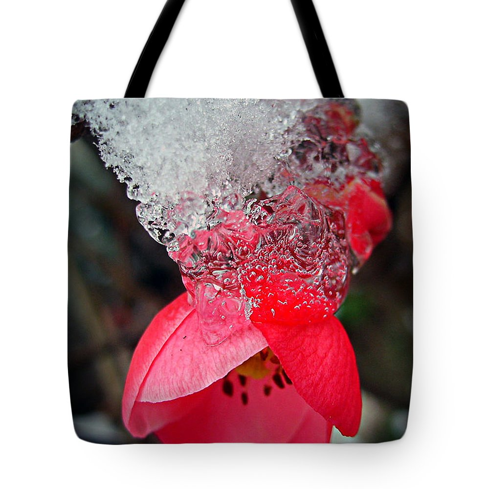 Blossom Tote Bag featuring the photograph Ice Flower by Nina Ficur Feenan