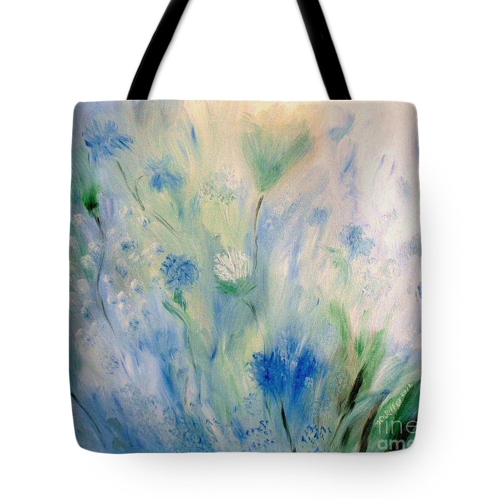 Floral Tote Bag featuring the painting Jardin Bleu by Julie Brugh Riffey