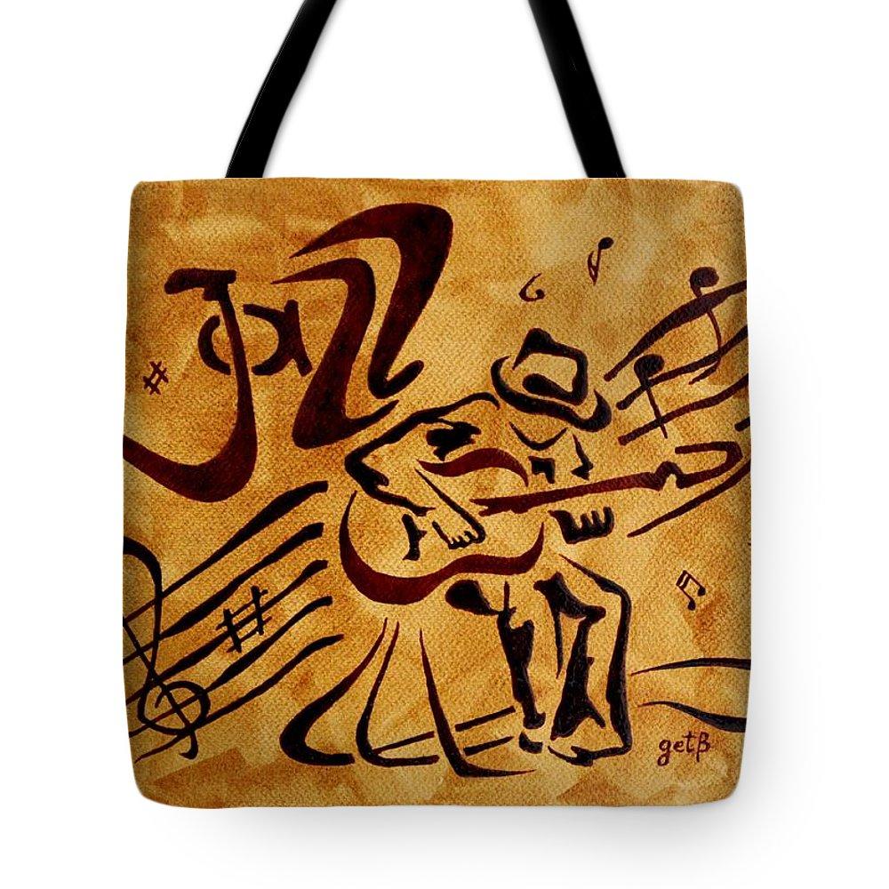 Guitar Singer Coffee Painting Abstract Tote Bag featuring the painting Jazz Abstract Coffee Painting by Georgeta Blanaru