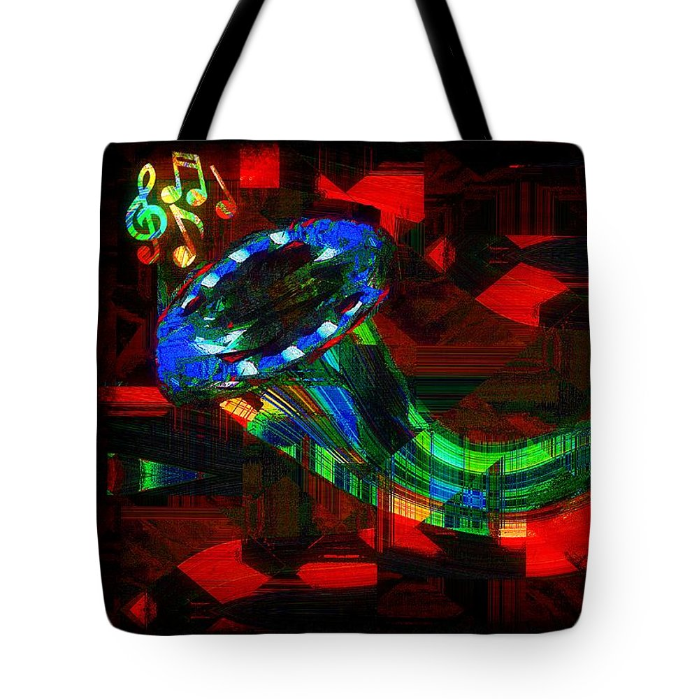 Horn Tote Bag featuring the painting Jazz At Midnight by RC DeWinter