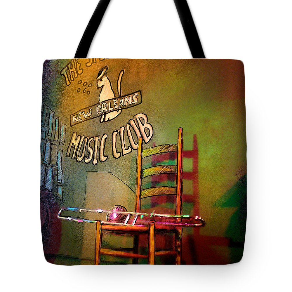 Jazz Tote Bag featuring the painting Jazz Break In New Orleans by Miki De Goodaboom