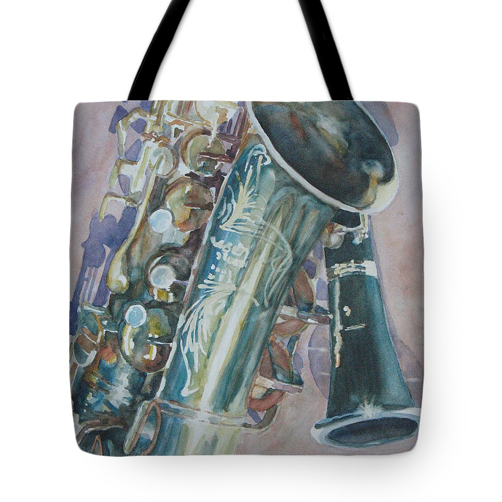 Sax Tote Bag featuring the painting Jazz Buddies by Jenny Armitage