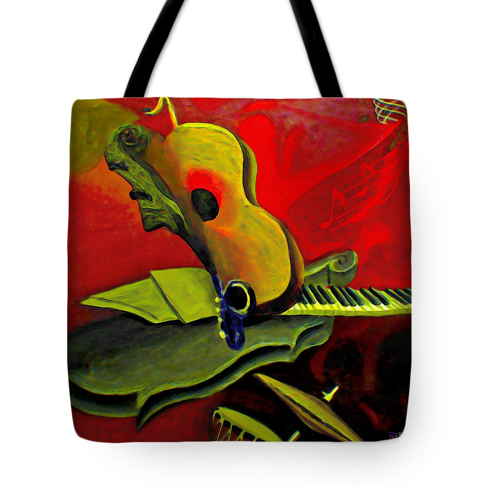 Abstract Tote Bag featuring the painting Jazz Infusion by Fli Art