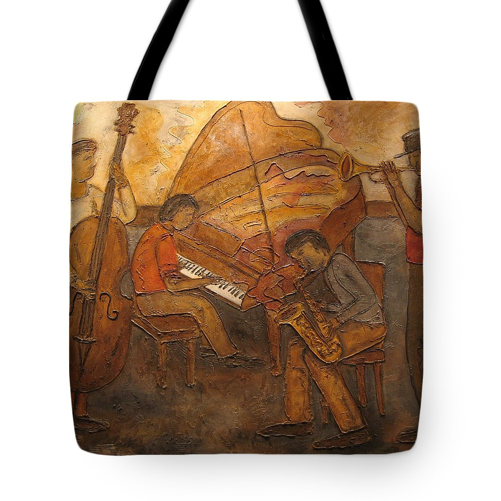 Impressionist Tote Bag featuring the painting Jazz Quartet by Anita Burgermeister