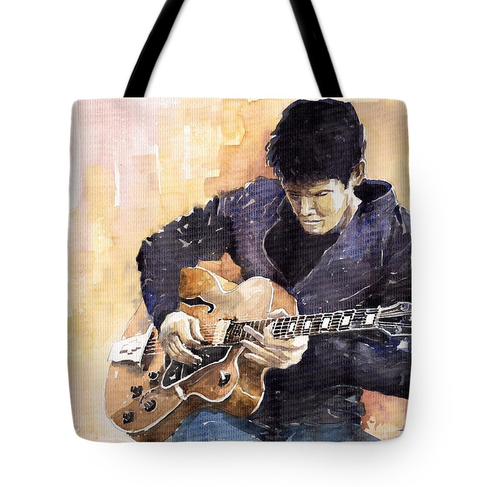 Gutarist Impressionist Instrument Jazz John Legend Mayer Music Musician Portret Rock Watercolour Tote Bag featuring the painting Jazz Rock John Mayer 02 by Yuriy Shevchuk