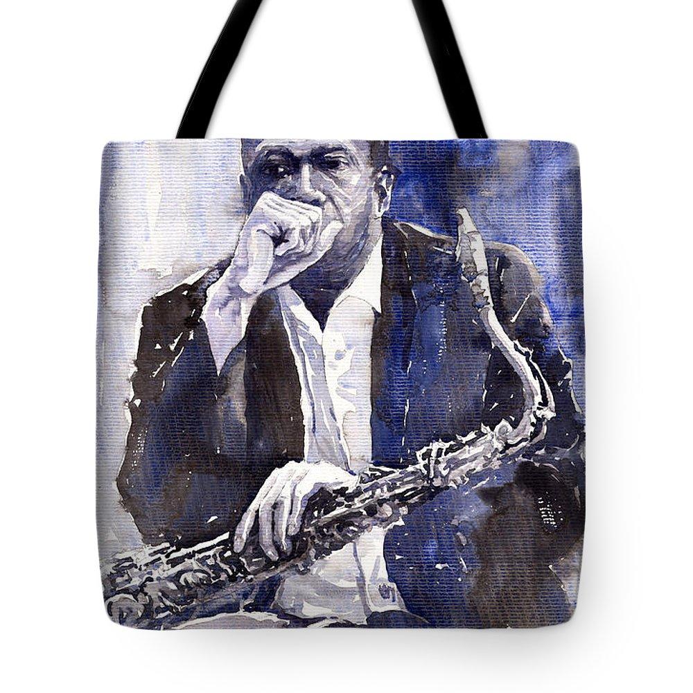 Jazz Tote Bag featuring the painting Jazz Saxophonist John Coltrane Blue by Yuriy Shevchuk