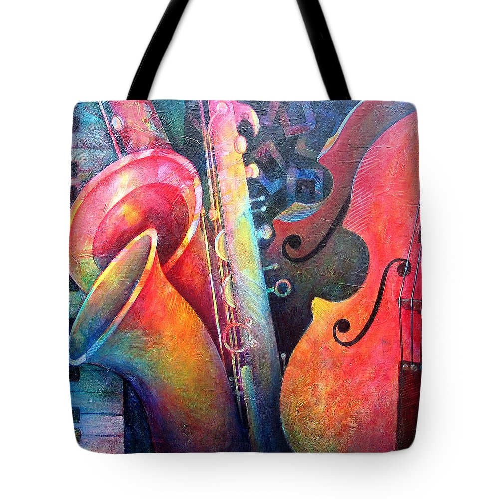 Music Tote Bag featuring the painting Jazz by Susanne Clark