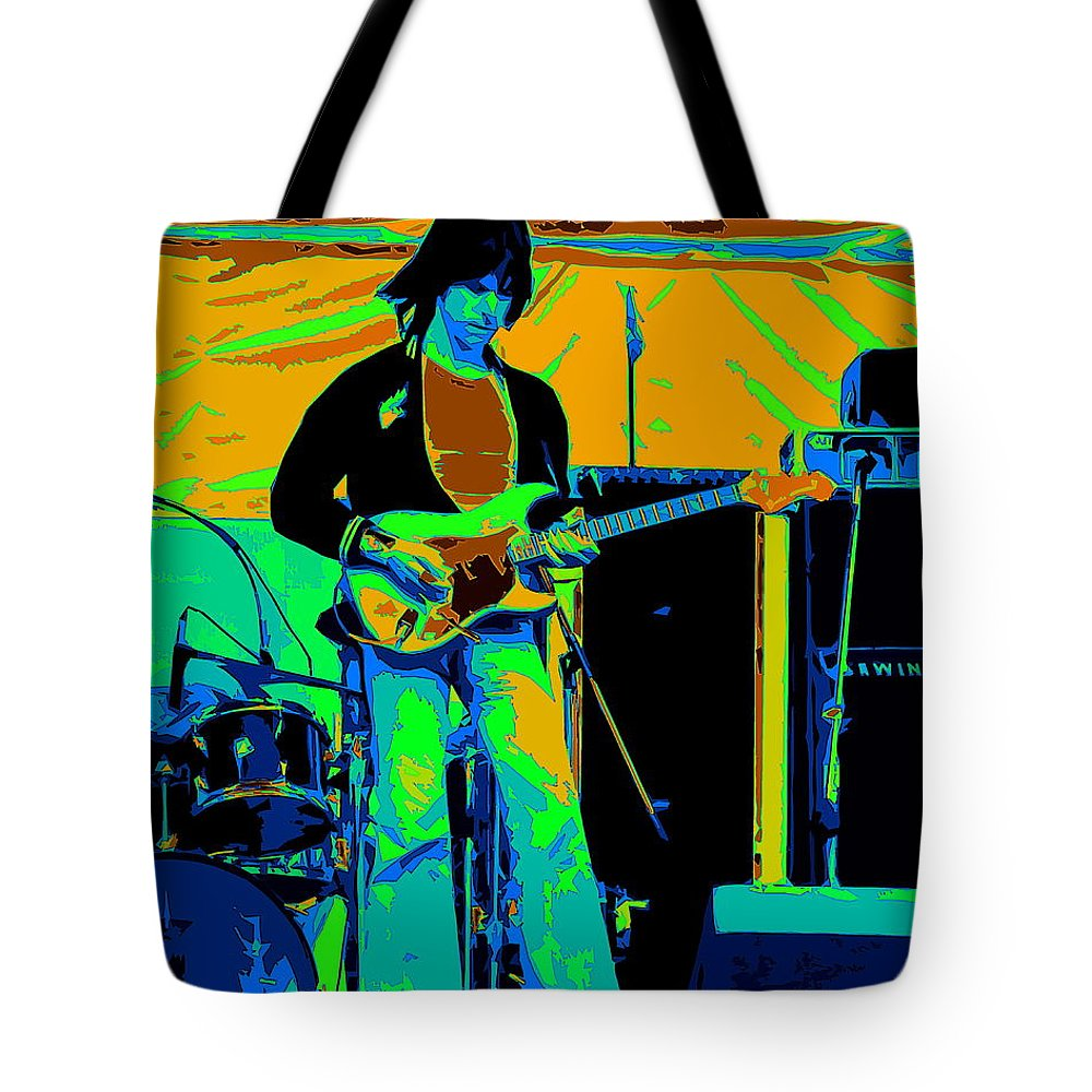 Jeff Beck Tote Bag featuring the photograph Jb #15 Enhanced In Cosmicolors Crop 2 by Ben Upham