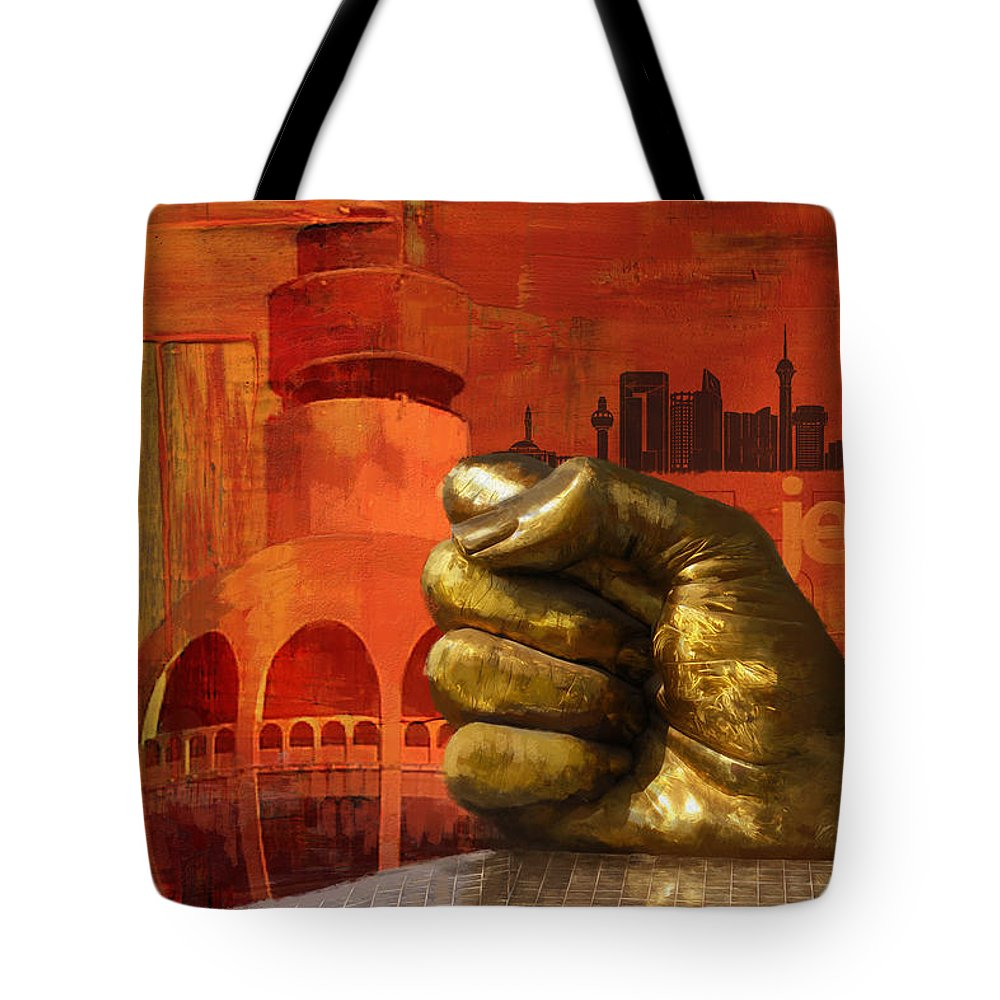 Tote Bag featuring the painting Jeddah Monument 01 by Catf