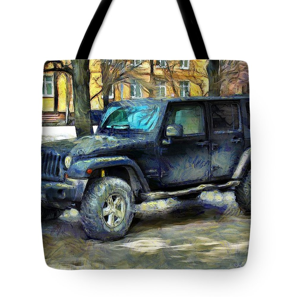 Jeep Tote Bag featuring the photograph Jeep Wrangler by Sergey Lukashin