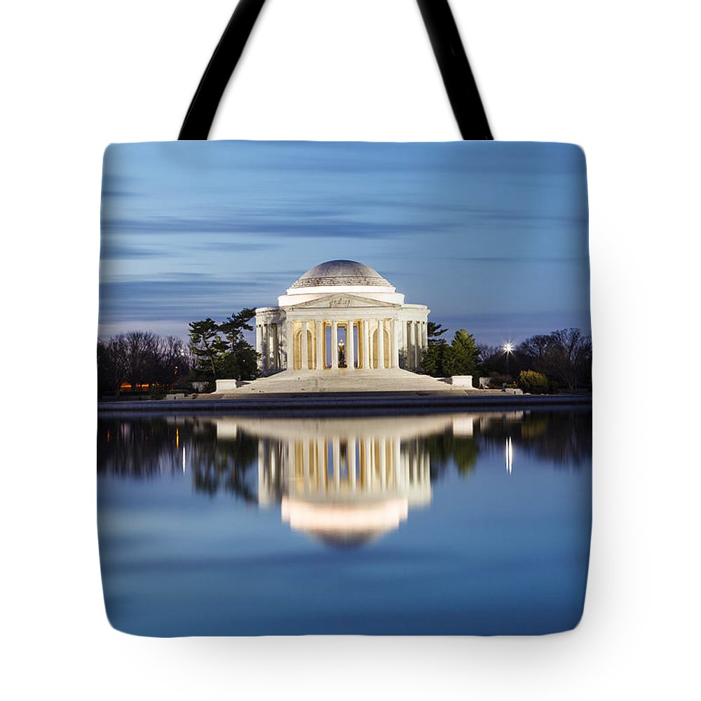Thomas Jefferson Memorial Tote Bag featuring the photograph Washington Dc Jefferson Memorial In Blue Hour by Carol VanDyke