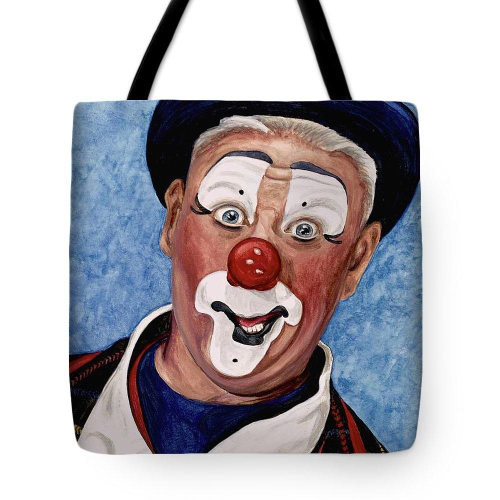Jeffrey Potts Tote Bag featuring the painting Watercolor Clown #11 Jeffrey Potts by Patty Vicknair