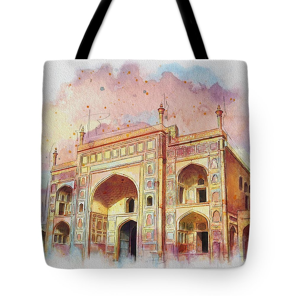 Pakistan Tote Bag featuring the painting Jehangir Form by Catf