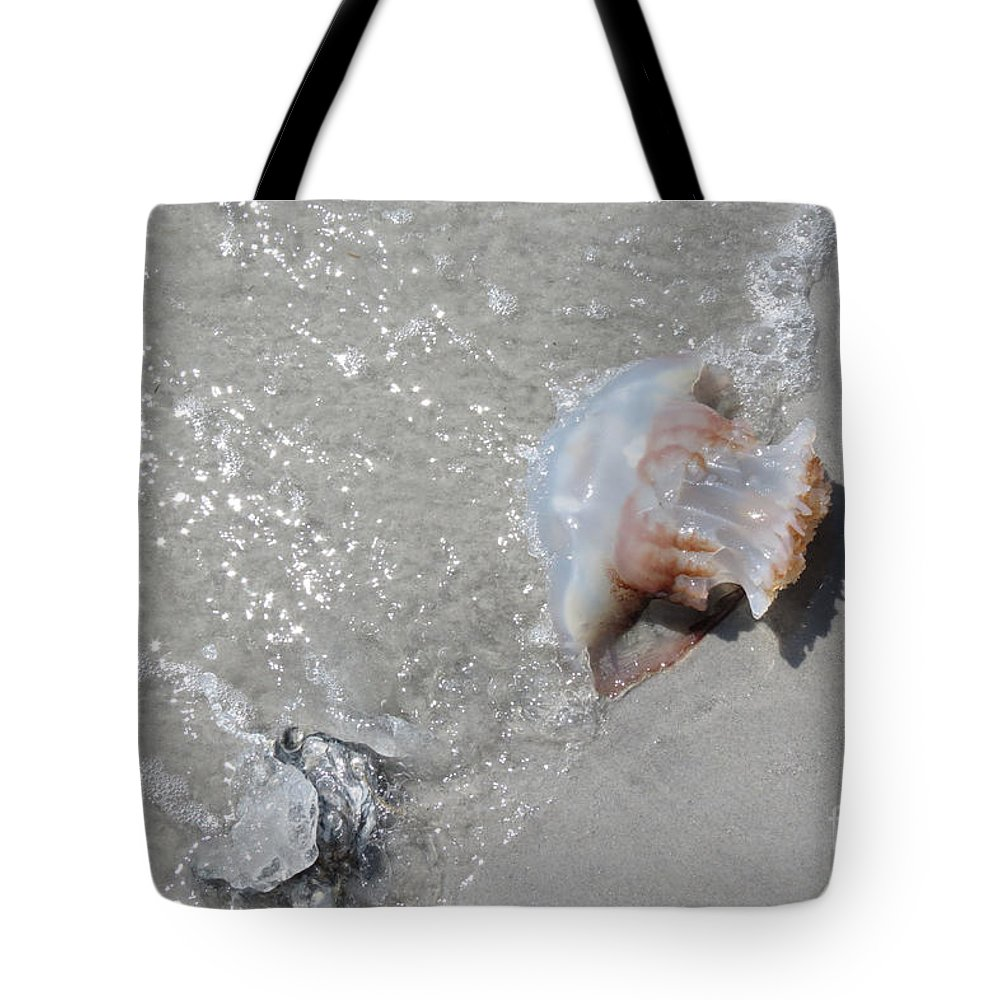 Jelly Ball Tote Bag featuring the photograph Jelly Ball And Oyster Shell Washed Upon Nc Beach by Crissy Anderson