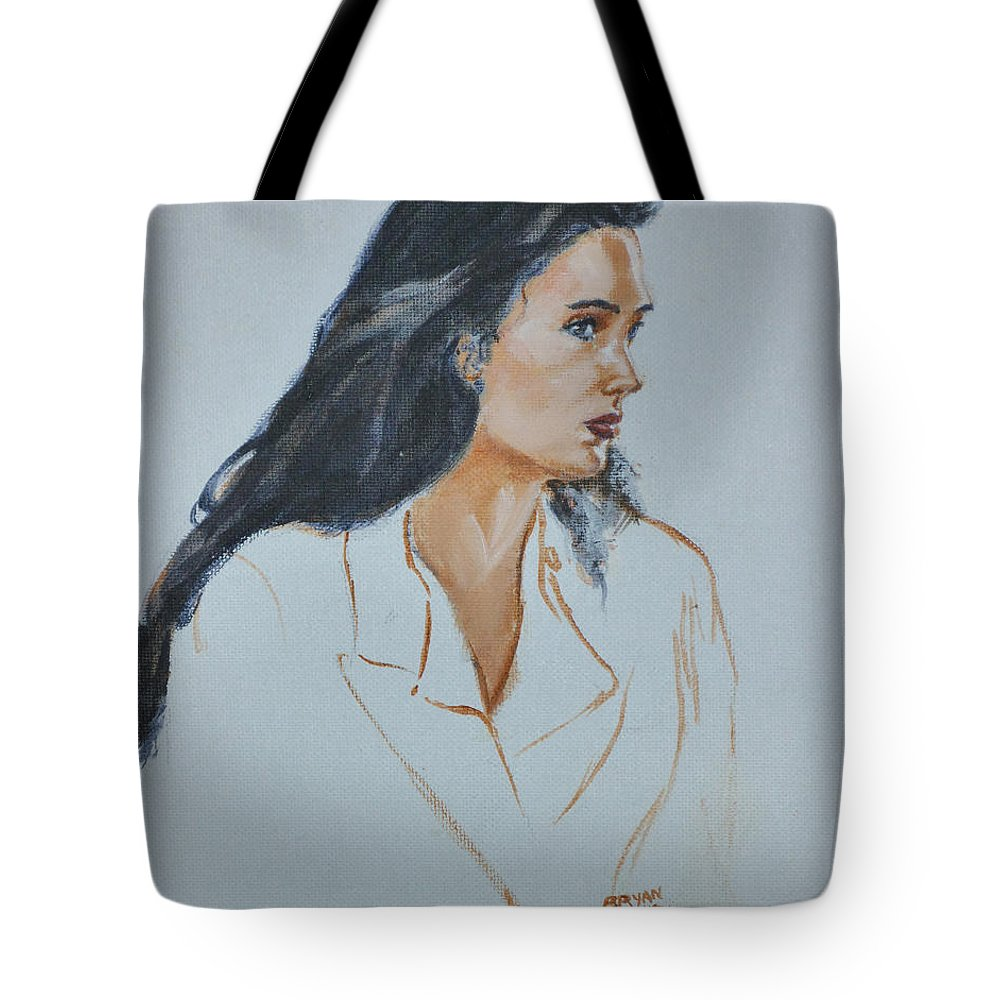 Jennifer Connelly Tote Bag featuring the painting Jennifer Connelly by Bryan Bustard