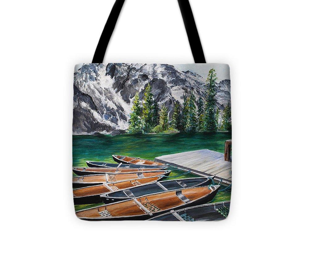 Jenny Lake Tote Bag featuring the painting Jenny Lake by Paula Noblitt