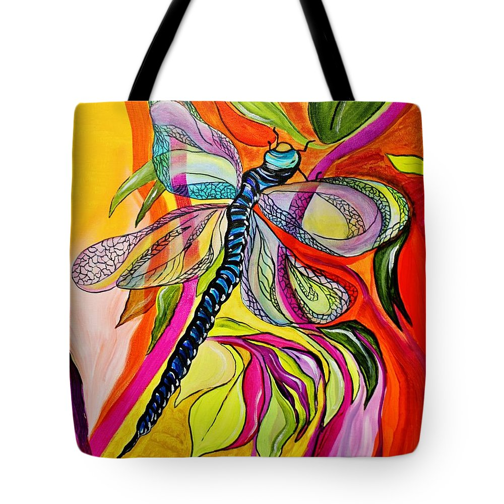 Background Tote Bag featuring the painting Jenny's Dragonfly In Acrylic by Janice Pariza
