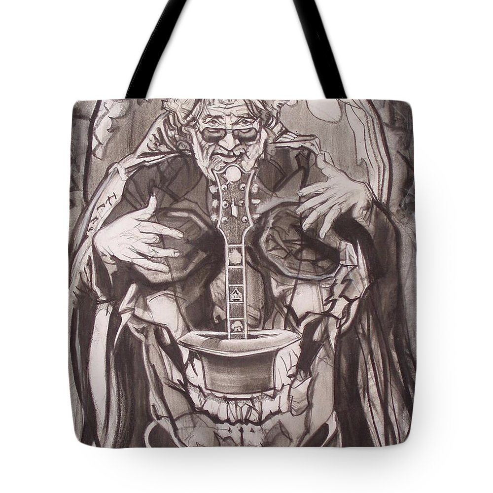 Charcoal; Skull;guitar;music;magic;mystic;wizard;cape;hat;shades;grateful Dead;deadheads Tote Bag featuring the drawing Jerry Garcia . . Magic Is What We Do - Music Is How We Do It by Sean Connolly