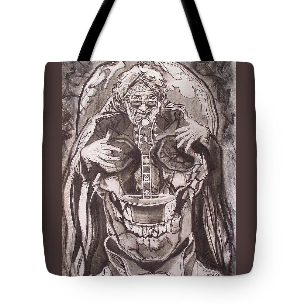 Charcoal Tote Bag featuring the drawing Jerry Garcia . . Magic Is What We Do - Music Is How We Do It by Sean Connolly