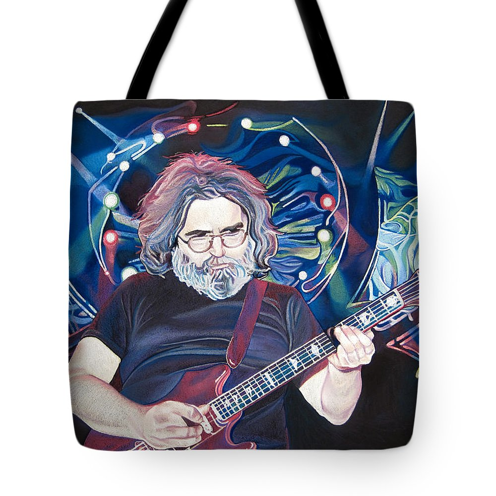 Jerry Garcia Tote Bag featuring the drawing Jerry Garcia And Lights by Joshua Morton