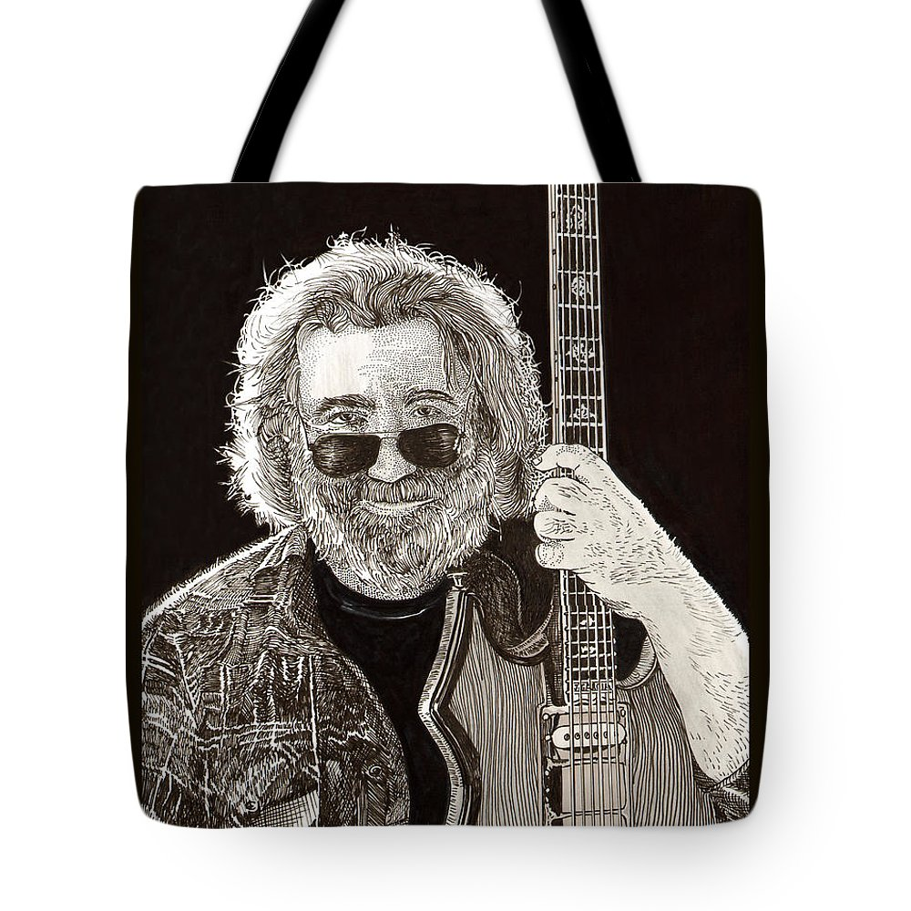 Thank You For Buying A 72 X 48 Canvas Print Of Jerome John Jerry Garcia Who Was An American Musician Who Was Best Known For His Lead Guitar Work Tote Bag featuring the drawing Jerry Garcia String Beard Guitar by Jack Pumphrey