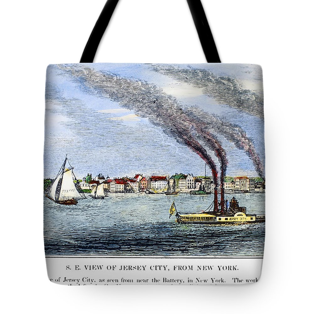 1844 Tote Bag featuring the painting Jersey City, 1844 by Granger